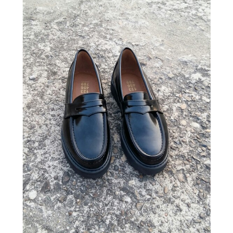 13c70fd03fd Men s glossy black thick platform high wedges heels penny loafers US7~US10.5