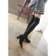 women's black elastic synthetic fabric chunky heels sock tigh high boots