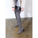 women's silver elastic synthetic fabric chunky heels sock tigh high boots