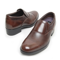 """Men's 2.6"""" UP cow Leather increase height straight tip punched loafers brown made in KOREA US 6 - 10"""