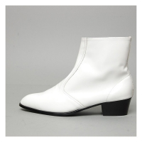 Men's inner real leather western glossy white side zip high heel ankle boots made in KOREA US6-10.5