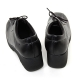 women's square toe black leather lace up med wedge heels oxfords