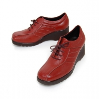 women's square toe red leather lace up med wedge heels oxfords