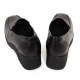 women's square toe black cow leather med wedge heels loafers