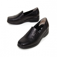 women's square toe black cow leather side elastic band med wedge heels loafers