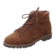Men's round toe eyelet lace up side zip padding entrance combat sole brown ankle boots