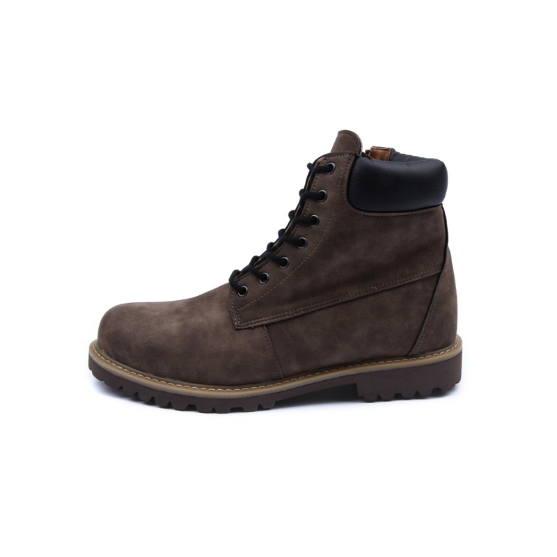 Men S Brown Raise Round Toe Eyelet Lace Up Side Zip