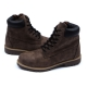 Men's brown raise round toe eyelet lace up side zip padding entrance combat sole ankle boots