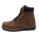 Men's beige raise round toe eyelet lace up side zip padding entrance combat sole ankle boots