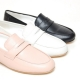 Women's sheep skin u-line stitch round toe low heel penny loafers