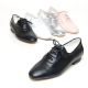 Women's plain toe sheep skin lace up low heels oxfords