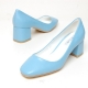 Women's square toe sheep skin chunky med heels pumps