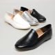 Women's u-line stitch round toe low heel loafers black white silver
