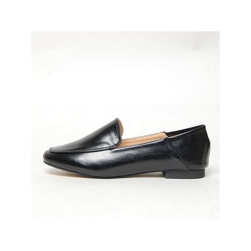 Shoes For Women Synthetic Low Heel Round Toe Loafers Casual Black Silver Gold