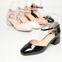 Women's square toe glossy chunky med heels mary-jane pumps