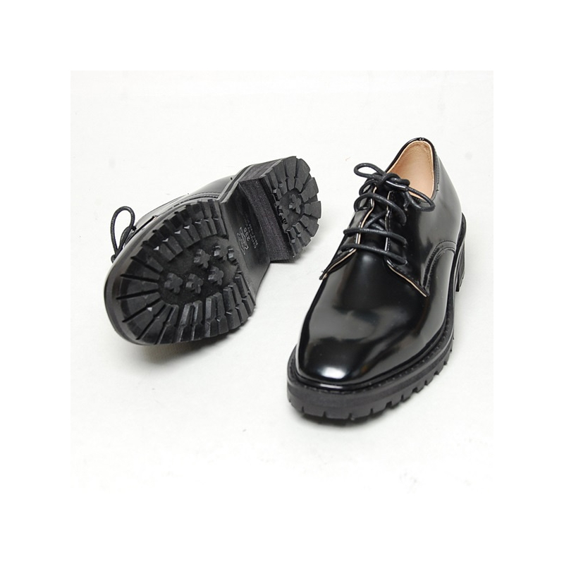 Women S Square Toe Open Lacing Combat Sole Med Heels Oxfords