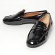 Women's round toe u-line wrinkle glossy black low heels penny loafers