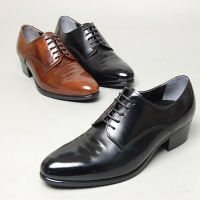 Men's wrinkle plain toe lace up high heel oxford shoes