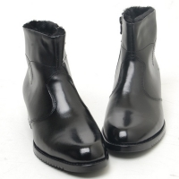 Men's plain toe black leather side zip inner synthetic fur ankle boots