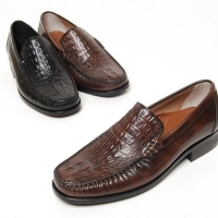 Men's square toe animal pattern cow leather loafers