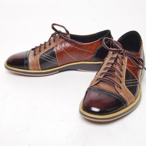 open lacing leather contrast stitch shoes