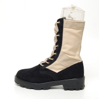 Men's suede black eyelet lace up combat sole desert ankle boots