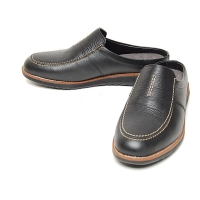 Men's u-line stitch black leather hidden insole height increasing elevator shoes loafers mules