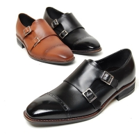 Men's black brown leather cap toe double monk shoes