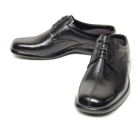 Men's square toe black leather open lacing hidden insole height increasing elevator shoes oxfords mules