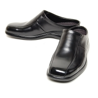 Men's flat square toe black leather hidden insole height increasing elevator shoes loafers mules