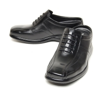 Men's flat square toe black leather 3inch taller hidden insole height increasing elevator shoes oxfords mules