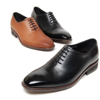 Men's black brown leather plain toe close lacing oxford shoes