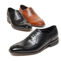 Men's black brown leather wing tip full brogue close lacing oxfords shoes