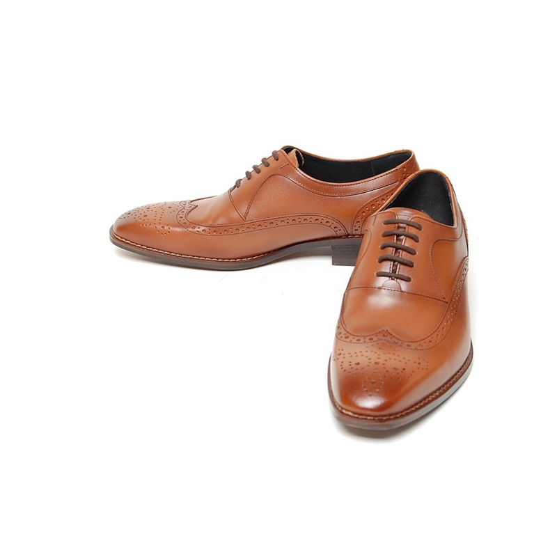 Men S Black Brown Leather Wing Tip Brogue Closed Lacing