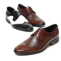 Men's brown black&white leather wing tip open lacing oxfords shoes