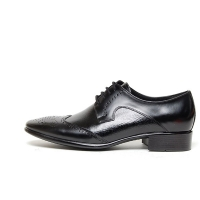 Men's black leather wing tip open lacing oxfords shoes