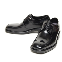 Men's black leather square toe open lacing oxfords hidden insole height increasing elevator shoes