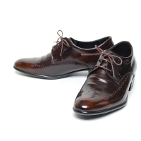 Men's brown leather wing tip brogue open lacing wrinkle oxfords shoes