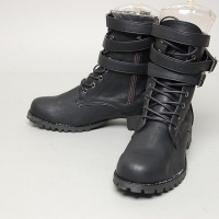 Men's triple belt strap black synthetic leather round toe eyelet lace up side zip combat sole boots