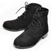 men's black suede eyelet lace up side zip button military ankle boots