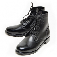 men's black leather eyelet lace up side zip button military ankle boots