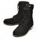 men's black suede eyelet lace up side zip button military mid calf boots