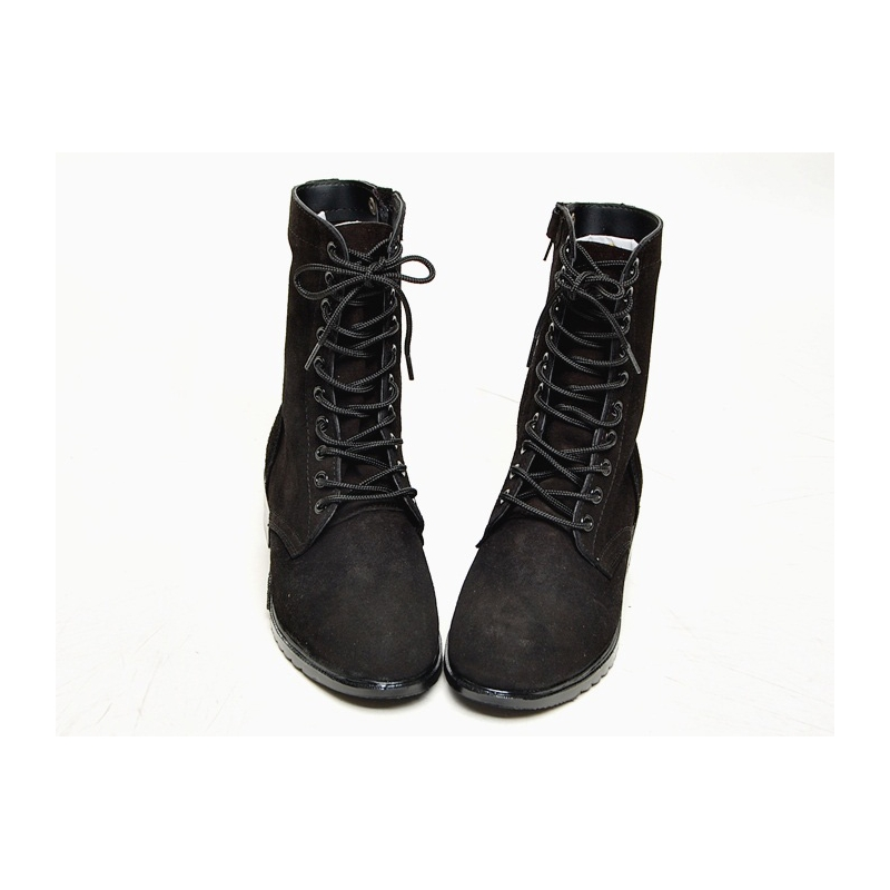 Men S Black Suede Eyelet Lace Up Side Zip Button Military