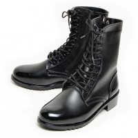 men's black leather eyelet lace up side zip button military mid calf boots