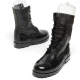 men's cap toe eyelet lace up side zip combat sole military mid calf boots