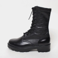 men's black leather platform inner napping eyelet lace up side zip button combat sole military mid calf boots