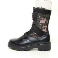 men's black leather fabric military digital eyelet lace up side zip button platform high heel combat sole mid calf boots
