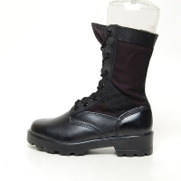 men's black leather fabric military eyelet lace up side zip button platform high heel combat sole mid calf boots