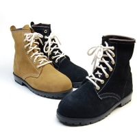 Men's black light-brown suede combat sole back tap ankle boots