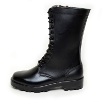 men's black leather eyelet lace up side zip button thick platform high heel combat sole mid calf boots